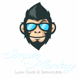 simple monkey lawn care and sprinkler logo